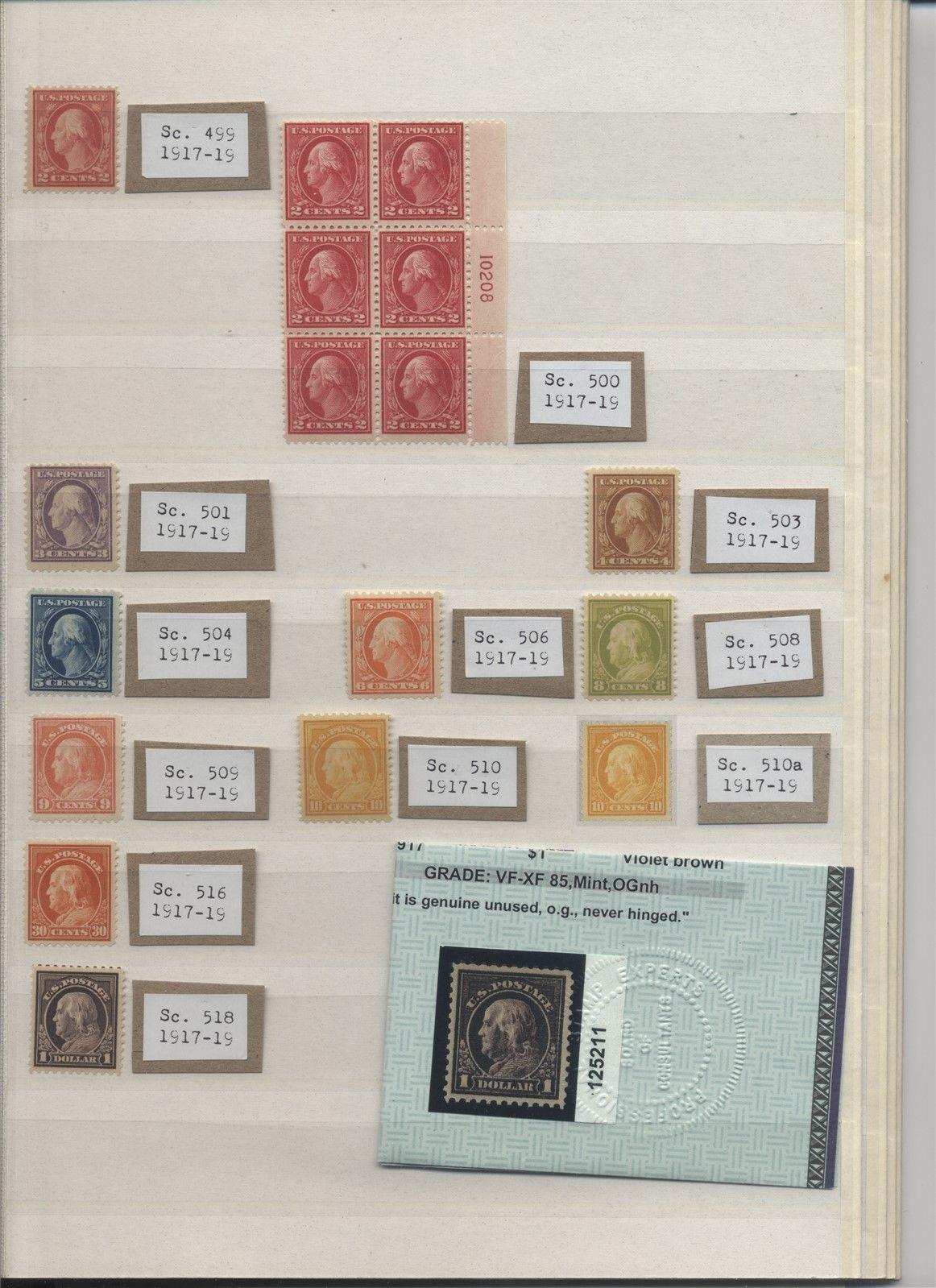 US Mint NH Washington Franklins with 440 498f 500 Cat 15385