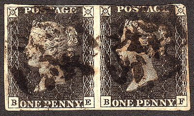QV SG  1d Penny Grey Black  Plate 11  Eleven VERY SCARCE PAIR CAT 18000